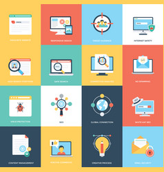 Web and seo flat design icons vector