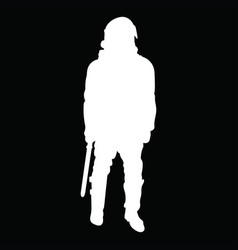 White outline of a cop in armor with helmet on vector