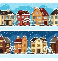 Winter urban landscape pattern with houses and vector