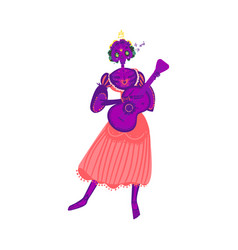 woman character with a guitar for mexican vector image