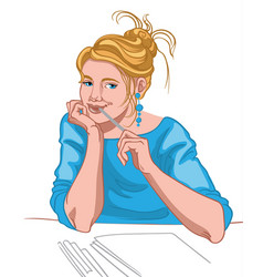 Young blonde woman with blue eyes and joyful face vector