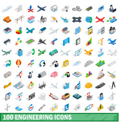 100 engineering icons set isometric 3d style vector image