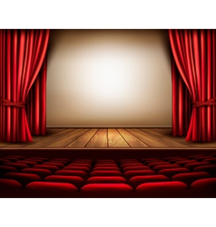 A theater stage with a red curtain seats vector image