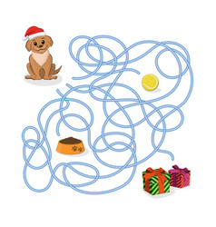 christmas way game help the puppy pass the maze vector image vector image