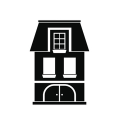 House with a mansard and garage icon vector image vector image