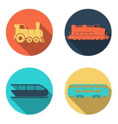 railway train flat icons set vector image vector image