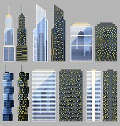 Set of detailed skyscraper vector image
