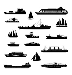 Ships and boats set black and white vector image