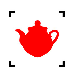 tea maker sign red icon inside black vector image vector image