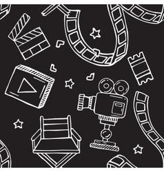 Cartoon doodles hand drawn cinema seamless vector image vector image