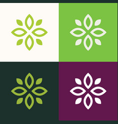 green flower logo vector image