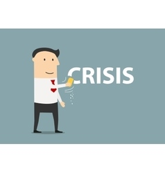 Happy businessman erasing the word crisis vector image