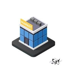 Isometric supermarket icon building city vector image vector image