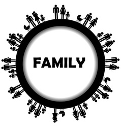 Round frame family simbols vector image vector image