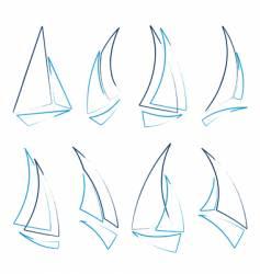 sailboat icons vector image vector image
