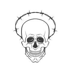 skull with barbed wire concept vector image