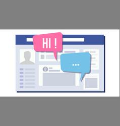 social page design speech bubbles social vector image vector image