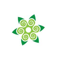 abstract leaf swirl eco logo vector image
