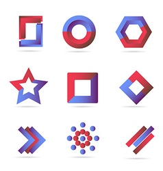 Blue red logo icons elements set vector image vector image
