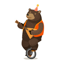 Circus performance happy bear rides unicycle and vector