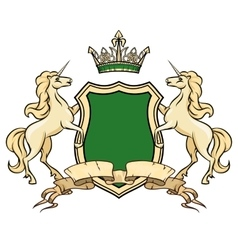Coat of arms logo template Unicorns with shield vector image vector image
