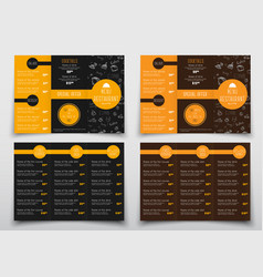design of triple folding menus for cafes and vector image vector image