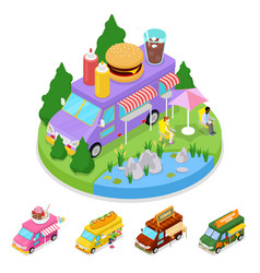 Isometric street food burger truck with people vector