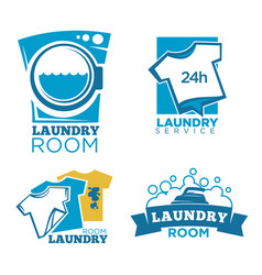 laundry service logotypes set with equipment and vector image vector image