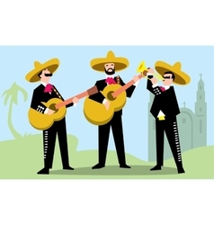 Mariachi Band in Sombrero with Guitar vector image