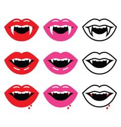 Vampire mouth vampire teeth icons set vector image vector image