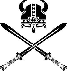 viking helmet and swords second variant vector image vector image