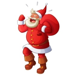 Angry santa yelling and waving his fist cartoon vector