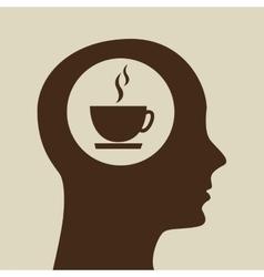 Blue silhouette head cup coffe icon design vector