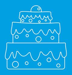 celebratory cake icon outline style vector image