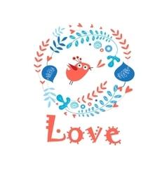 enamored bird in love vector image vector image