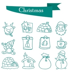 Object christmas set icons of vector