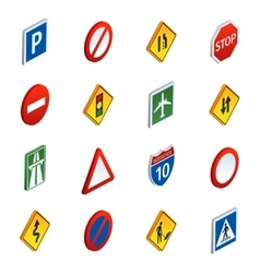 Road traffic signs isometric icons set vector image vector image