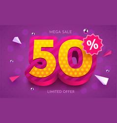 50 percent off discount creative composition 3d vector