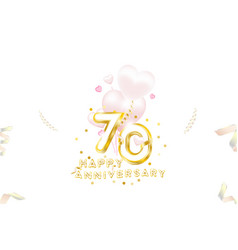 70th anniversary gold inscription with original vector image