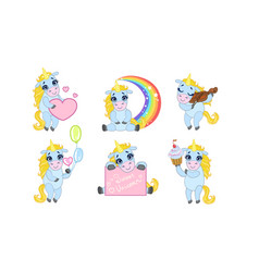 adorable sweet unicorn cartoon character set cute vector image