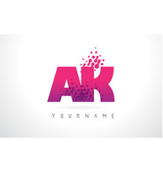 Ak a k letter logo with pink purple color vector