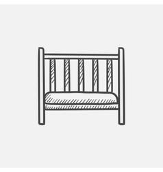 Baby cot sketch icon vector image