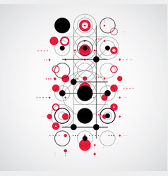 Bauhaus abstract red background made with grid vector