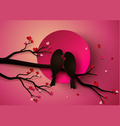 Bird in love vector