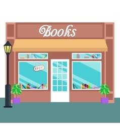 Book shop and store building front flat style vector