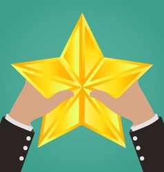 Businessman Hands Catching Gold Star vector image