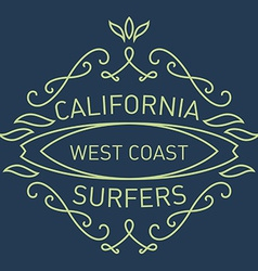 California west coast surfers Monograms style vector image