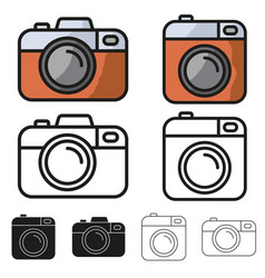 camera icon minimalistic flat design set vector image