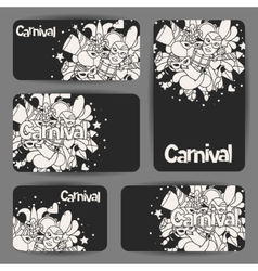 Carnival show cards with doodle icons and objects vector