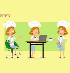 cartoon flat chef cook girl character set vector image